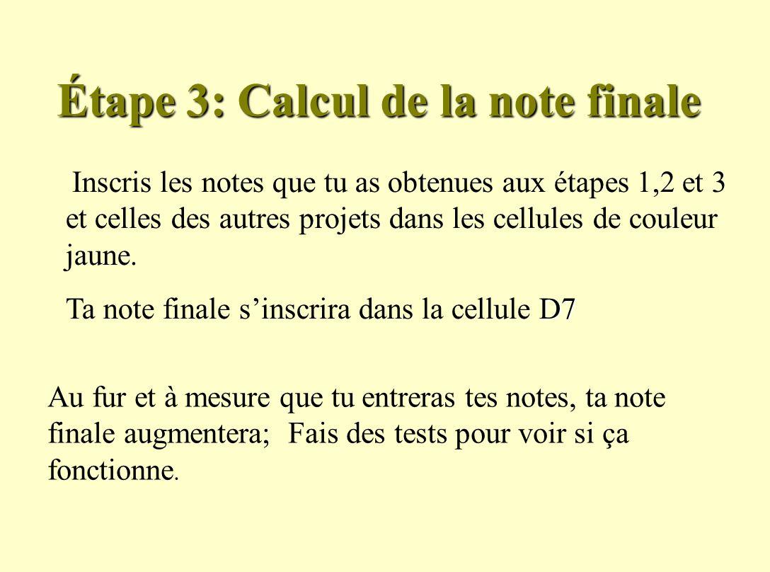 Étape 3: Calcul de la note finale Inscris les notes que tu as obtenues aux étapes 1,2 et 3 et celles des autres projets dans les cellules de couleur jaune.