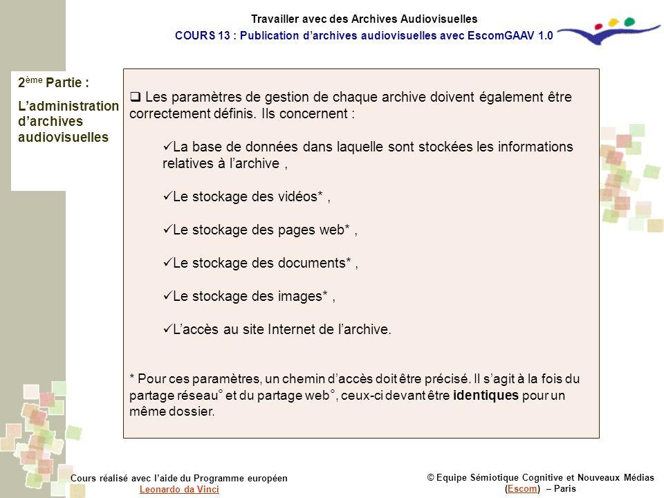2 ème Partie : Ladministration darchives audiovisuelles © Equipe Sémiotique Cognitive et Nouveaux Médias (Escom) – ParisEscom Cours réalisé avec laide