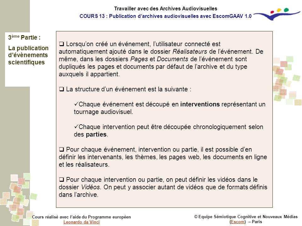 3 ème Partie : La publication dévènements scientifiques © Equipe Sémiotique Cognitive et Nouveaux Médias (Escom) – ParisEscom Cours réalisé avec laide