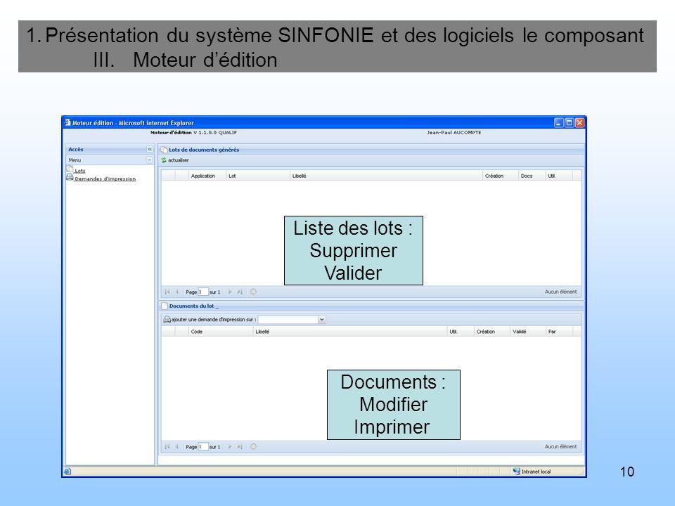 10 1.Présentation du système SINFONIE et des logiciels le composant III. Moteur dédition Documents : Modifier Imprimer Liste des lots : Supprimer Vali
