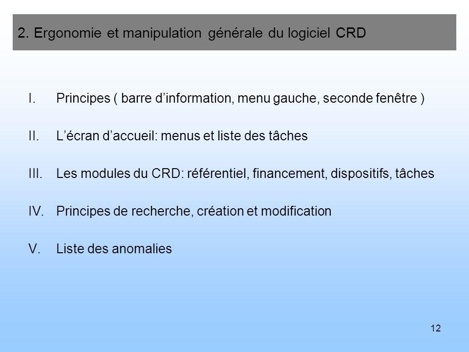 12 2. Ergonomie et manipulation générale du logiciel CRD I.Principes ( barre dinformation, menu gauche, seconde fenêtre ) II.Lécran daccueil: menus et