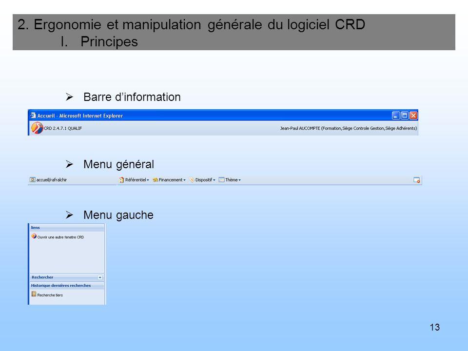 13 2. Ergonomie et manipulation générale du logiciel CRD I. Principes Barre dinformation Menu général Menu gauche