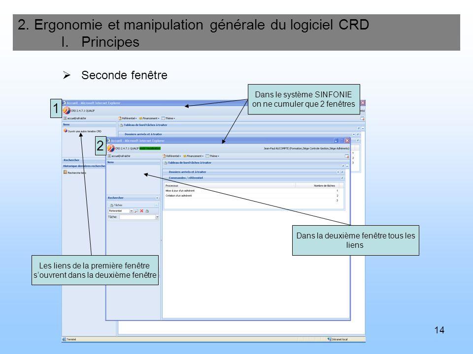 14 Seconde fenêtre 2. Ergonomie et manipulation générale du logiciel CRD I. Principes Les liens de la première fenêtre souvrent dans la deuxième fenêt