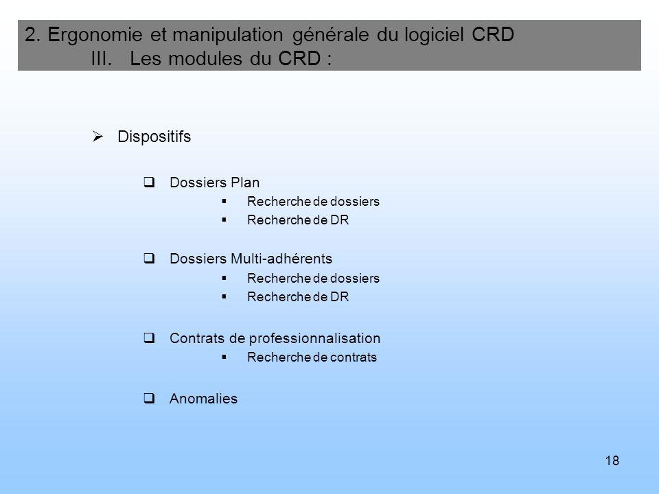 18 2. Ergonomie et manipulation générale du logiciel CRD III. Les modules du CRD : Dispositifs Dossiers Plan Recherche de dossiers Recherche de DR Dos