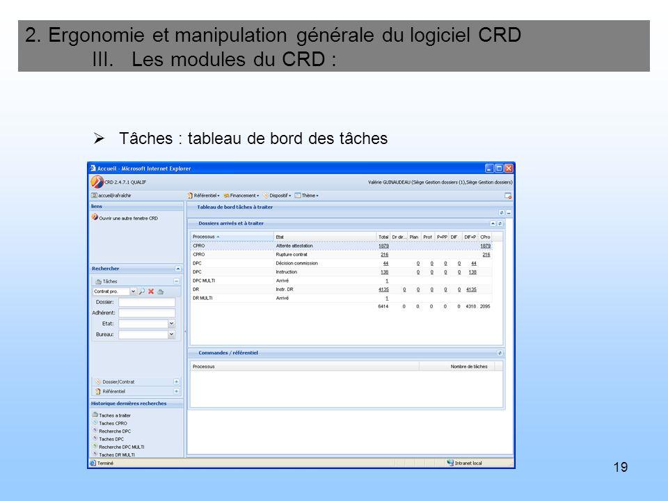 19 2. Ergonomie et manipulation générale du logiciel CRD III. Les modules du CRD : Tâches : tableau de bord des tâches