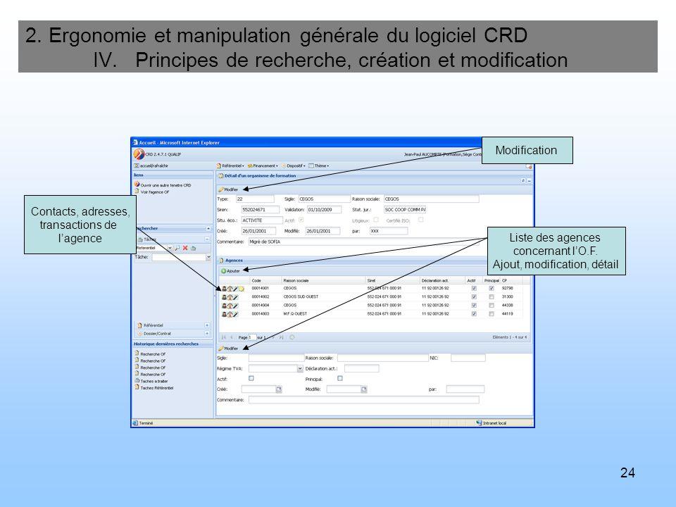 24 2. Ergonomie et manipulation générale du logiciel CRD IV. Principes de recherche, création et modification Modification Liste des agences concernan