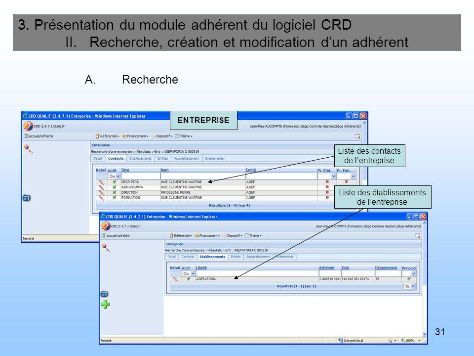 31 3. Présentation du module adhérent du logiciel CRD II. Recherche, création et modification dun adhérent A.Recherche Liste des contacts de lentrepri