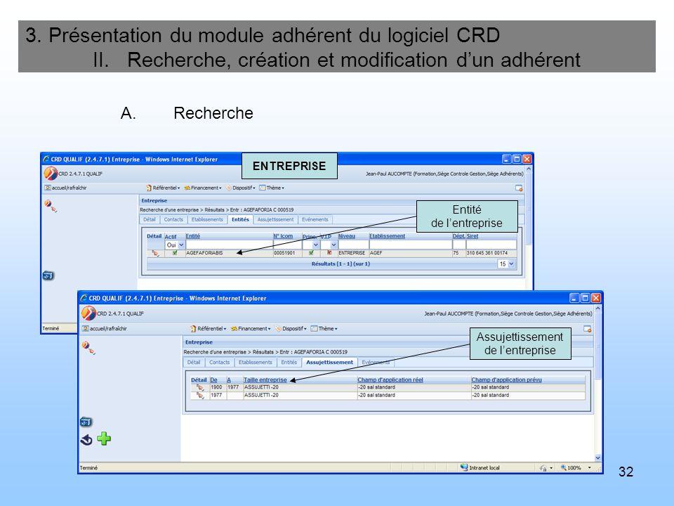 32 3. Présentation du module adhérent du logiciel CRD II. Recherche, création et modification dun adhérent A.Recherche Entité de lentreprise Assujetti