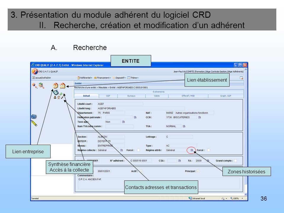 36 3. Présentation du module adhérent du logiciel CRD II. Recherche, création et modification dun adhérent A.Recherche ENTITE Lien établissement Lien