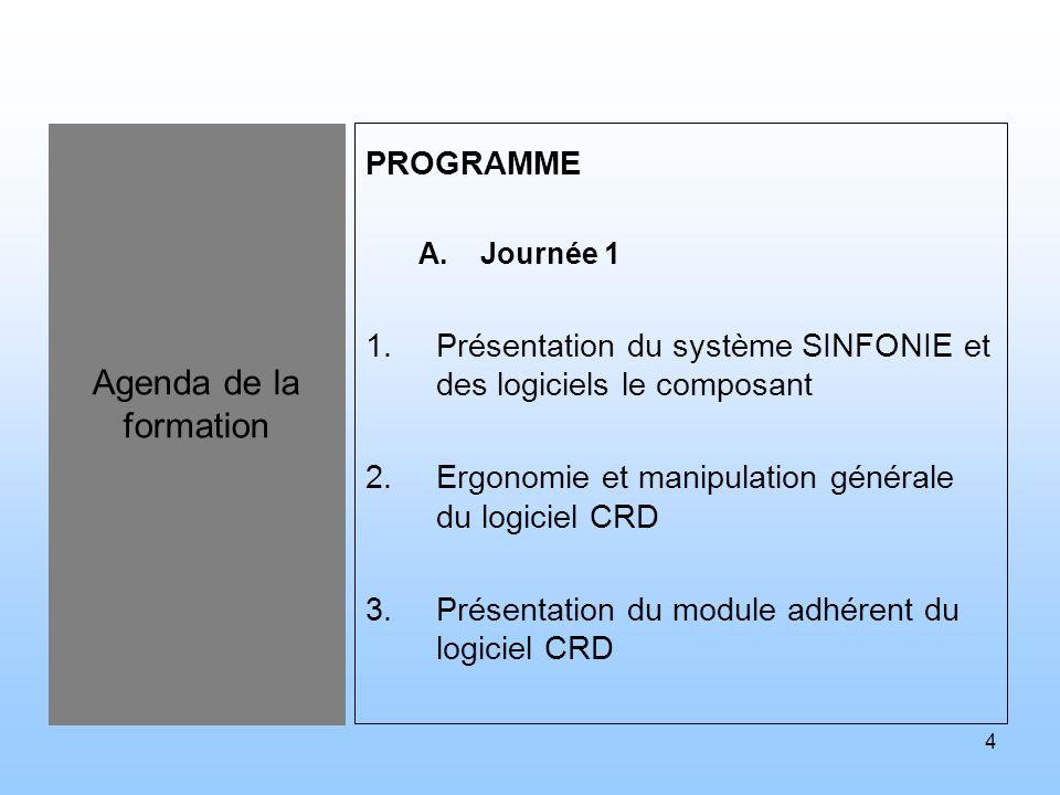 4 Agenda de la formation PROGRAMME A.Journée 1 1.Présentation du système SINFONIE et des logiciels le composant 2.Ergonomie et manipulation générale d