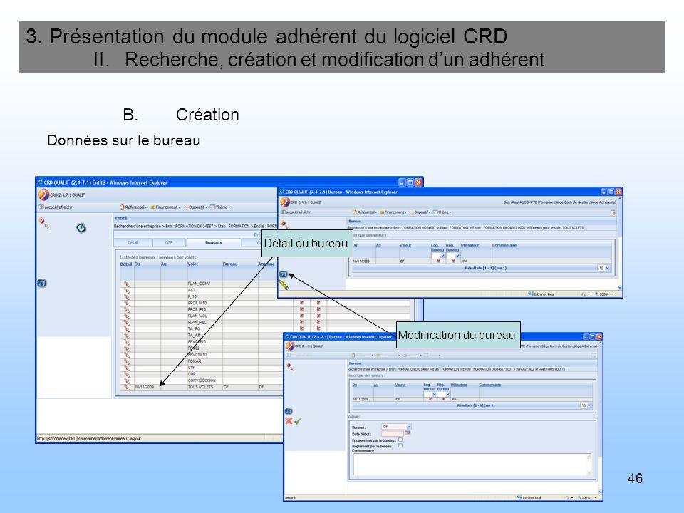 46 3. Présentation du module adhérent du logiciel CRD II. Recherche, création et modification dun adhérent B.Création Détail du bureau Modification du