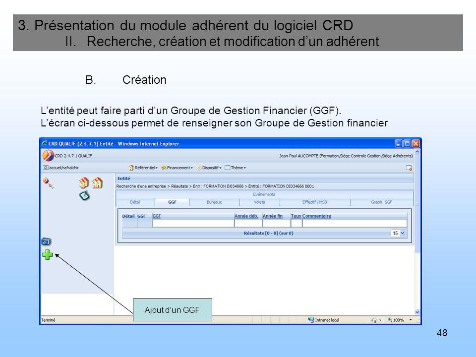 48 3. Présentation du module adhérent du logiciel CRD II. Recherche, création et modification dun adhérent B.Création Lentité peut faire parti dun Gro