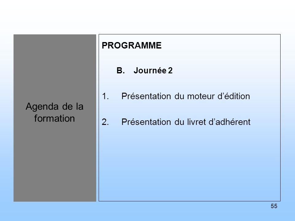 55 Agenda de la formation PROGRAMME B.Journée 2 1.Présentation du moteur dédition 2.Présentation du livret dadhérent