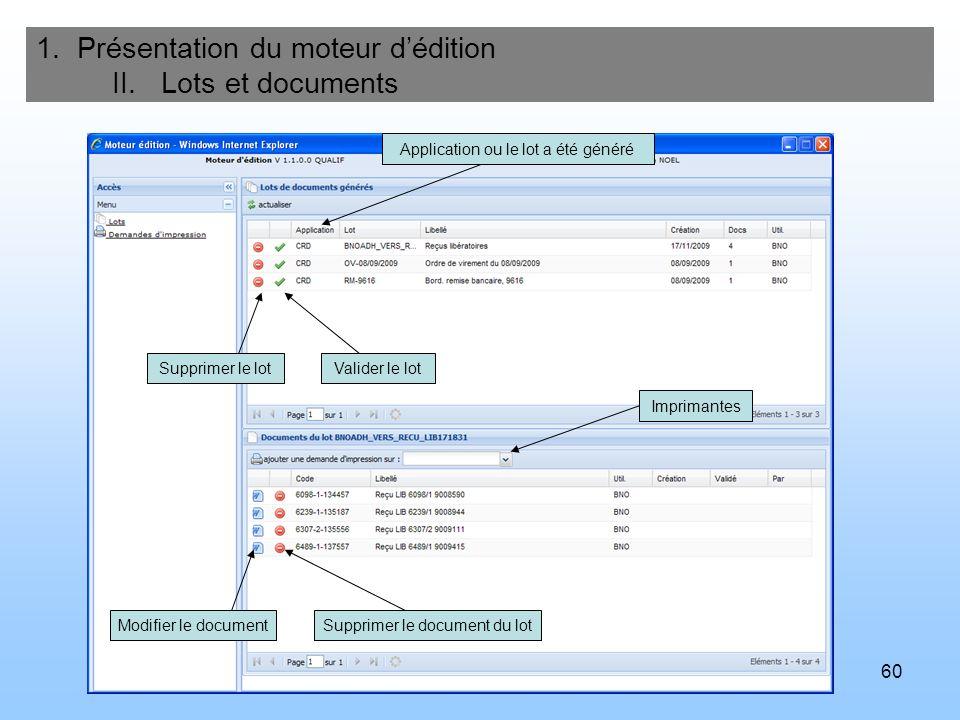60 1. Présentation du moteur dédition II. Lots et documents Supprimer le lotValider le lot Application ou le lot a été généré Imprimantes Modifier le