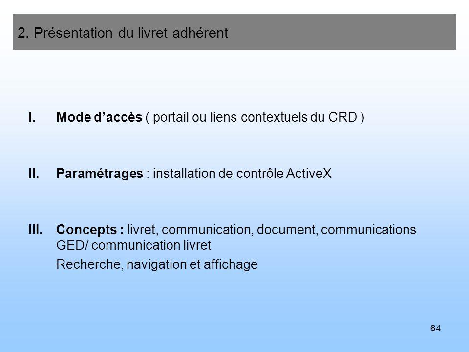 64 2. Présentation du livret adhérent I.Mode daccès ( portail ou liens contextuels du CRD ) II.Paramétrages : installation de contrôle ActiveX III.Con
