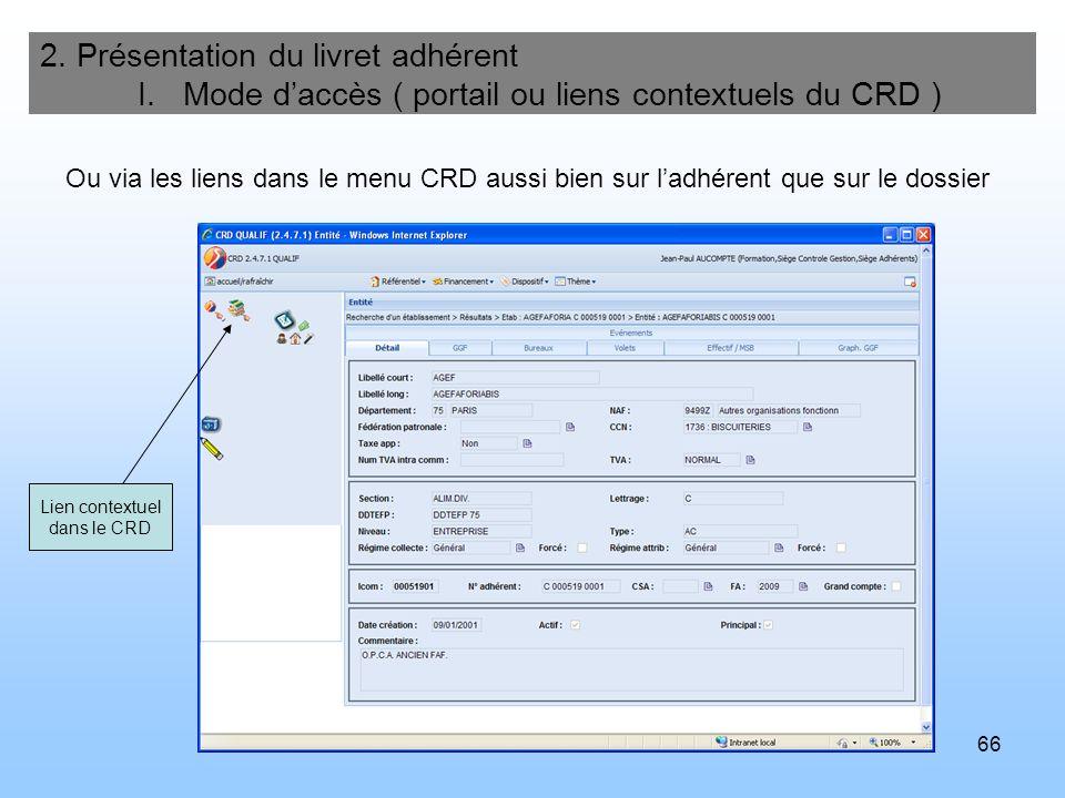 66 2. Présentation du livret adhérent I. Mode daccès ( portail ou liens contextuels du CRD ) Ou via les liens dans le menu CRD aussi bien sur ladhéren