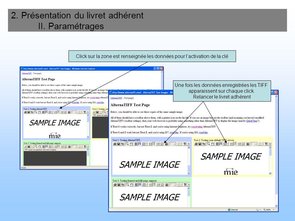 69 2. Présentation du livret adhérent II. Paramétrages Click sur la zone est renseignée les données pour lactivation de la clé Une fois les données en