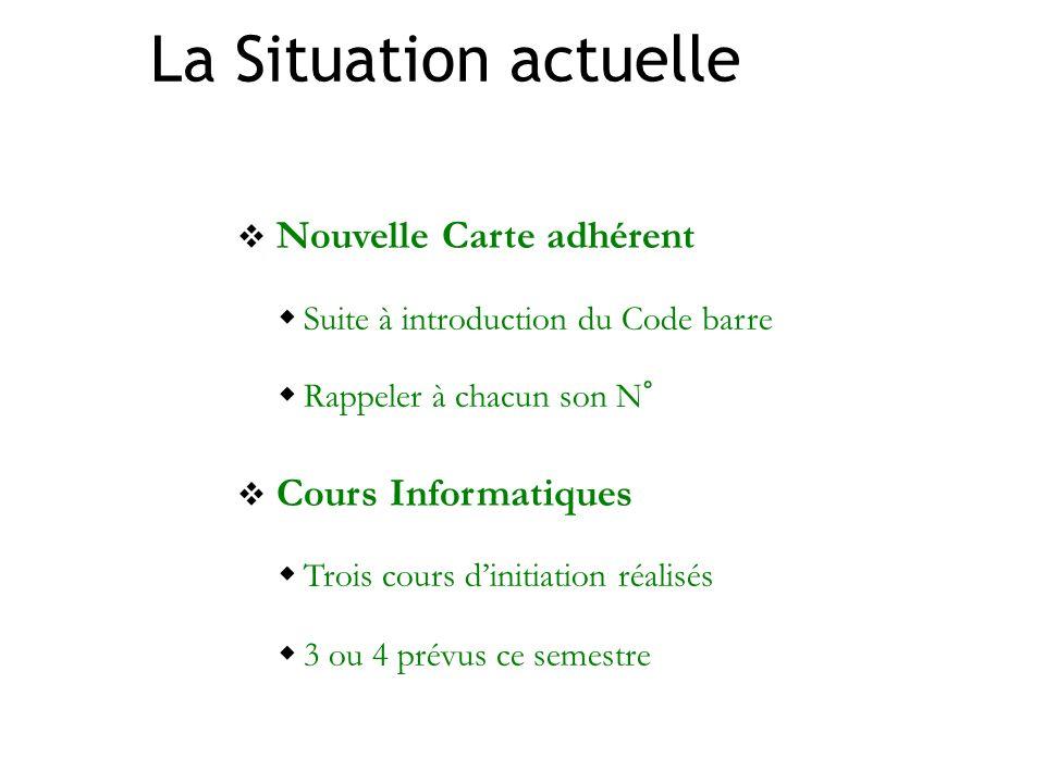 La Situation actuelle Nouvelle Carte adhérent Suite à introduction du Code barre Rappeler à chacun son N° Cours Informatiques Trois cours dinitiation