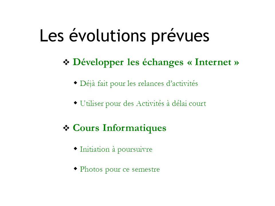 Les évolutions prévues Développer les échanges « Internet » Déjà fait pour les relances dactivités Utiliser pour des Activités à délai court Cours Inf
