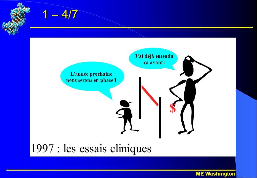 ME Washington 1 – 4/7 $ 1997 : les essais cliniques Lannée prochaine nous serons en phase I Jai déjà entendu ça avant !