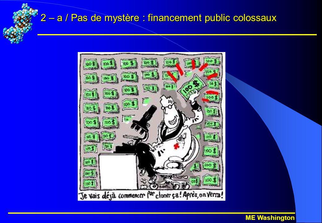 ME Washington 2 – a / Pas de mystère : financement public colossaux
