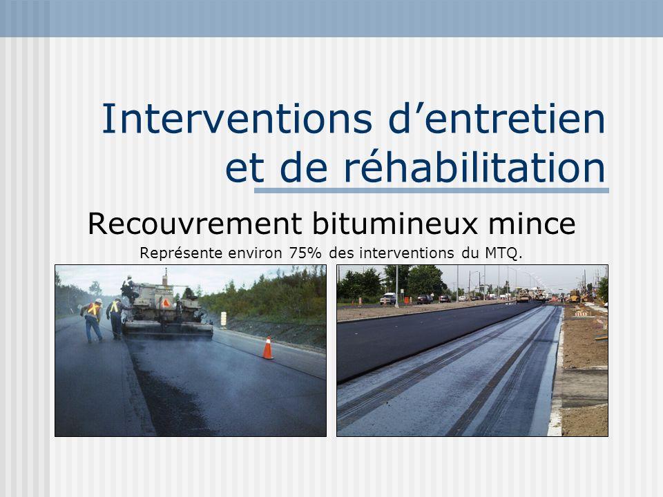 Interventions dentretien et de réhabilitation Recouvrement bitumineux mince Représente environ 75% des interventions du MTQ.