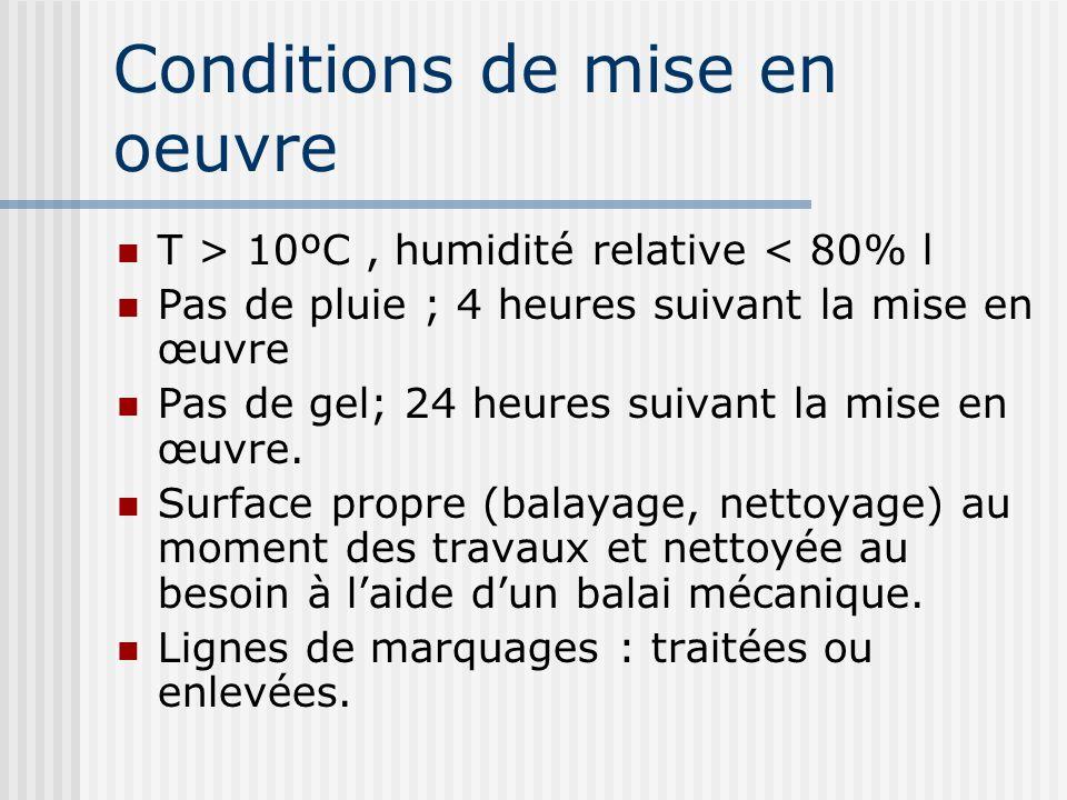 Conditions de mise en oeuvre T > 10ºC, humidité relative < 80% l Pas de pluie ; 4 heures suivant la mise en œuvre Pas de gel; 24 heures suivant la mis