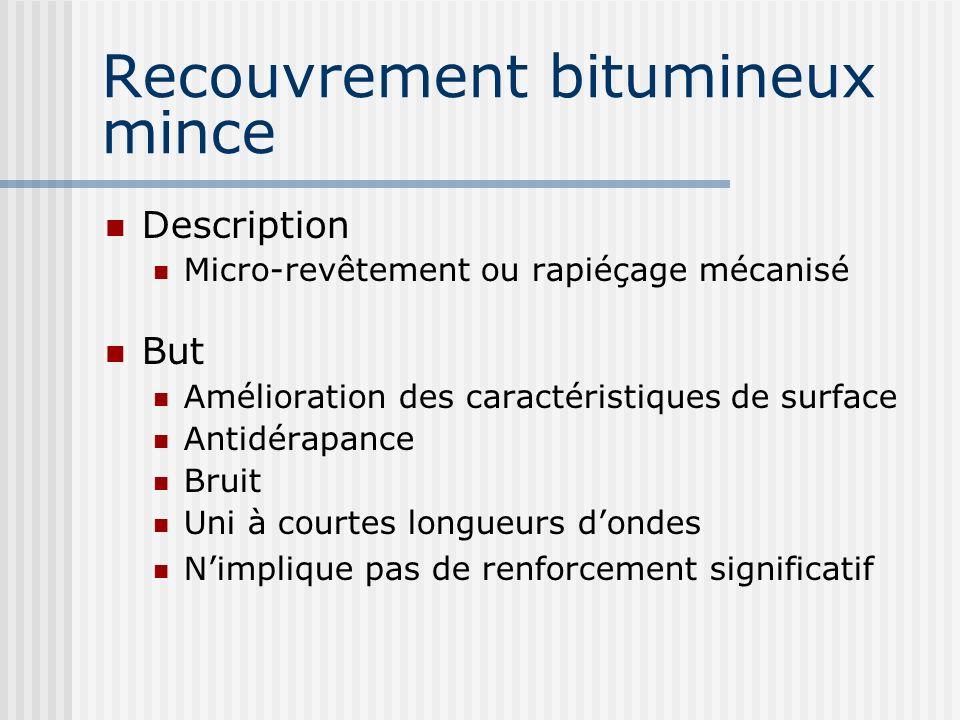 Recouvrement bitumineux mince Description Micro-revêtement ou rapiéçage mécanisé But Amélioration des caractéristiques de surface Antidérapance Bruit