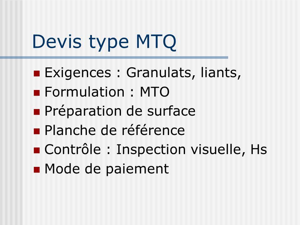 Devis type MTQ Exigences : Granulats, liants, Formulation : MTO Préparation de surface Planche de référence Contrôle : Inspection visuelle, Hs Mode de
