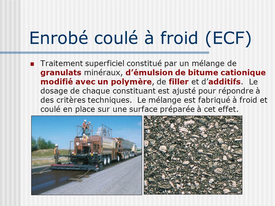 Granulats + Émulsion Polymère 3% Ciment Additif: fibre 8 mm Enrobé coulé à froid (ECF)