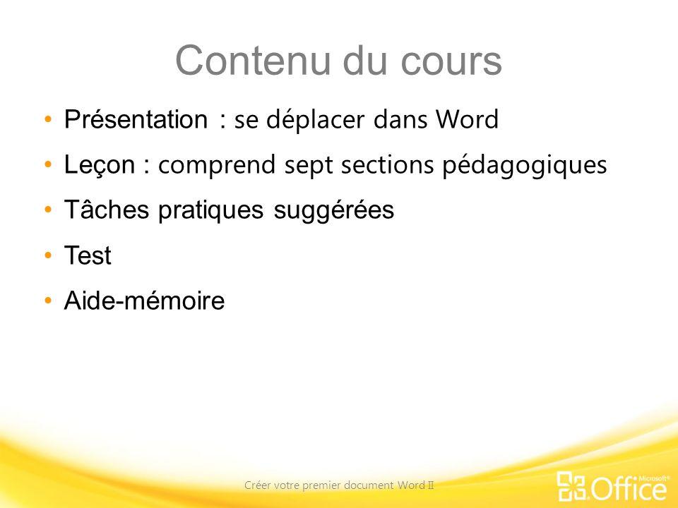 Contenu du cours Présentation : se déplacer dans Word Leçon : comprend sept sections pédagogiques Tâches pratiques suggérées Test Aide-mémoire Créer v