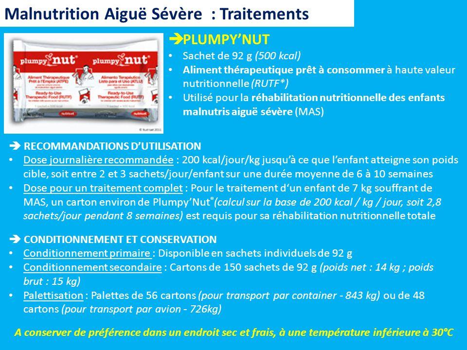 Malnutrition Aiguë Sévère : Traitements PLUMPYNUT Sachet de 92 g (500 kcal) Aliment thérapeutique prêt à consommer à haute valeur nutritionnelle (RUTF
