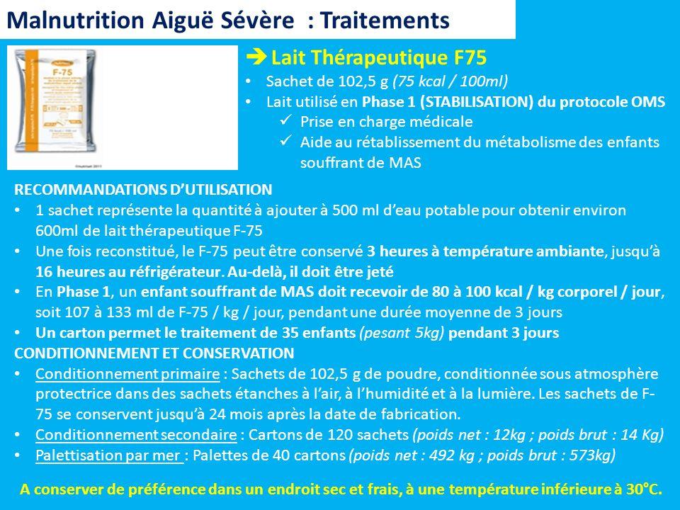 Lait Thérapeutique F75 Sachet de 102,5 g (75 kcal / 100ml) Lait utilisé en Phase 1 (STABILISATION) du protocole OMS Prise en charge médicale Aide au r