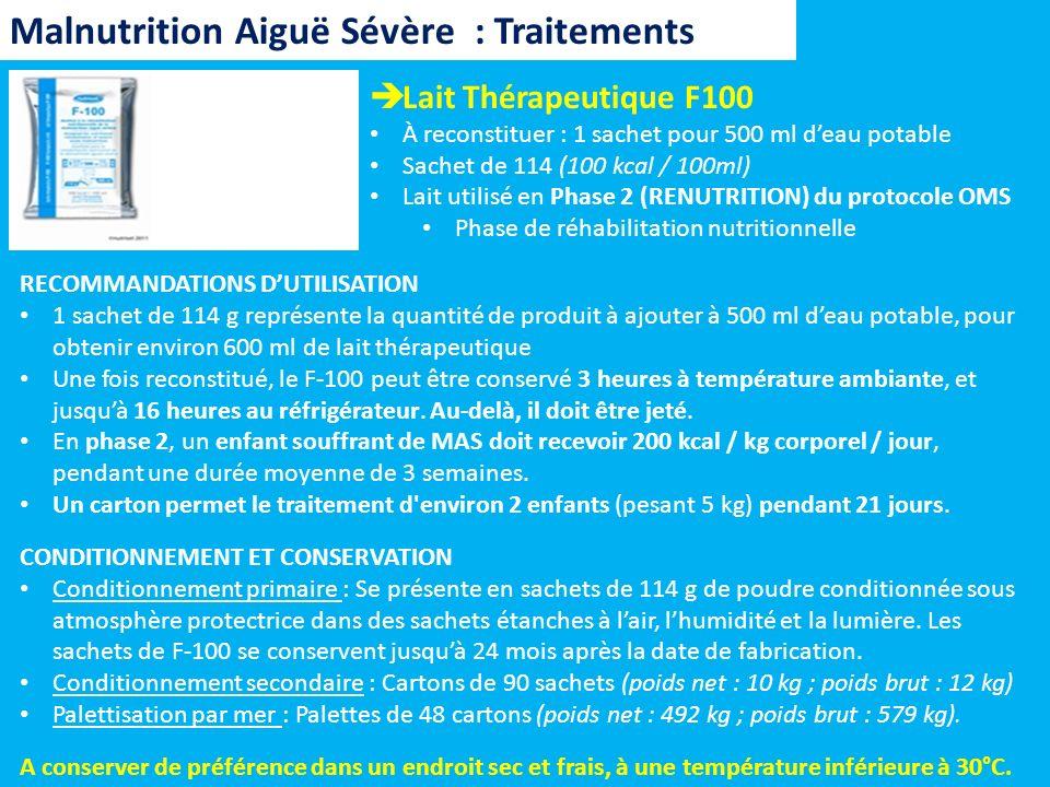 Lait Thérapeutique F100 À reconstituer : 1 sachet pour 500 ml deau potable Sachet de 114 (100 kcal / 100ml) Lait utilisé en Phase 2 (RENUTRITION) du p