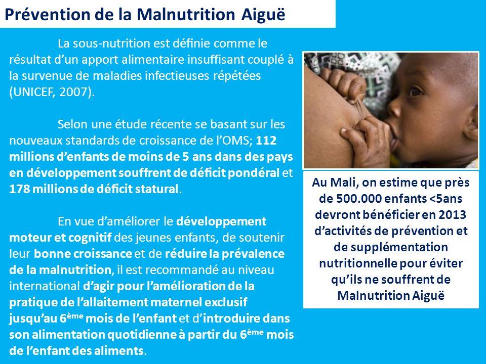 La sous-nutrition est dénie comme le résultat dun apport alimentaire insuffisant couplé à la survenue de maladies infectieuses répétées (UNICEF, 2007)