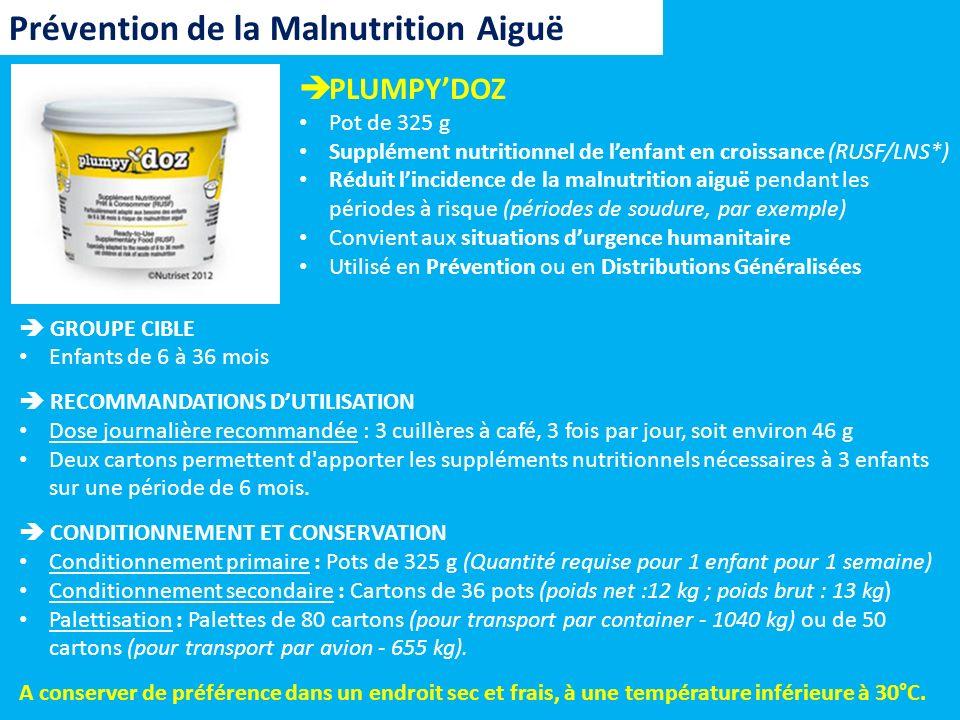 BP-5 Biscuit à haute valeur énergétique (256 Kcal) Supplément nutritionnel prêt à consommer Réduit lincidence de la malnutrition aiguë pendant les périodes à risque (périodes de soudure, par exemple) Convient aux situations durgence humanitaire, en particulier pour les enfants de 6 à 36 mois Utilisé en Prévention ou en Distributions Généralisées Prévention de la Malnutrition Aiguë RECOMMANDATIONS DUTILISATION Dose journalière recommandée Pour un enfant âgé de 6 à 24 mois 3 barres/jour (soit 768 Kcal) émietté dans de leau potable sous forme de bouillie (200 ml deau / barre) Pour un enfant âgé de 24 à 36 mois 4 barres/jour (soit 1.016 Kcal) directement sous forme de barre Pour un enfant âgé de 36 à 60 mois 5 barres/jour (soit 1.270 Kcal) directement sous forme de barre CONDITIONNEMENT ET CONSERVATION Conditionnement primaire : Barres Conditionnement secondaire : Cartons de 30 barres Conservation dune durée de 5 ans