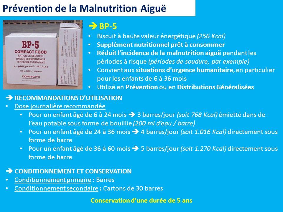BP-5 Biscuit à haute valeur énergétique (256 Kcal) Supplément nutritionnel prêt à consommer Réduit lincidence de la malnutrition aiguë pendant les pér