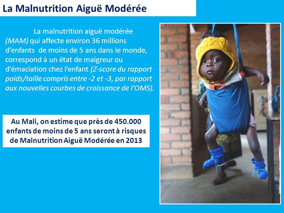 La Malnutrition Aiguë Modérée La malnutrition aiguë modérée (MAM) qui affecte environ 36 millions denfants de moins de 5 ans dans le monde, correspond