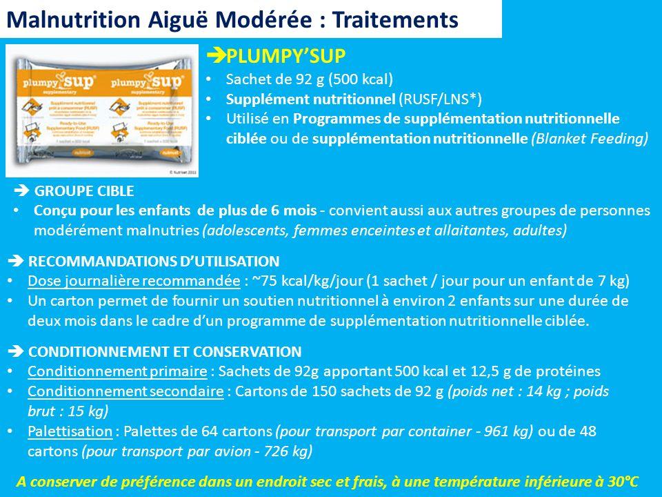 PLUMPYSUP Sachet de 92 g (500 kcal) Supplément nutritionnel (RUSF/LNS*) Utilisé en Programmes de supplémentation nutritionnelle ciblée ou de supplémen