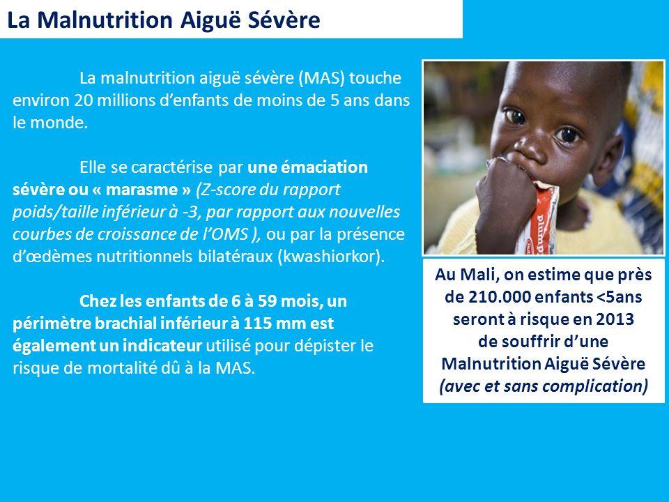 La Malnutrition Aiguë Sévère La malnutrition aiguë sévère (MAS) touche environ 20 millions denfants de moins de 5 ans dans le monde. Elle se caractéri