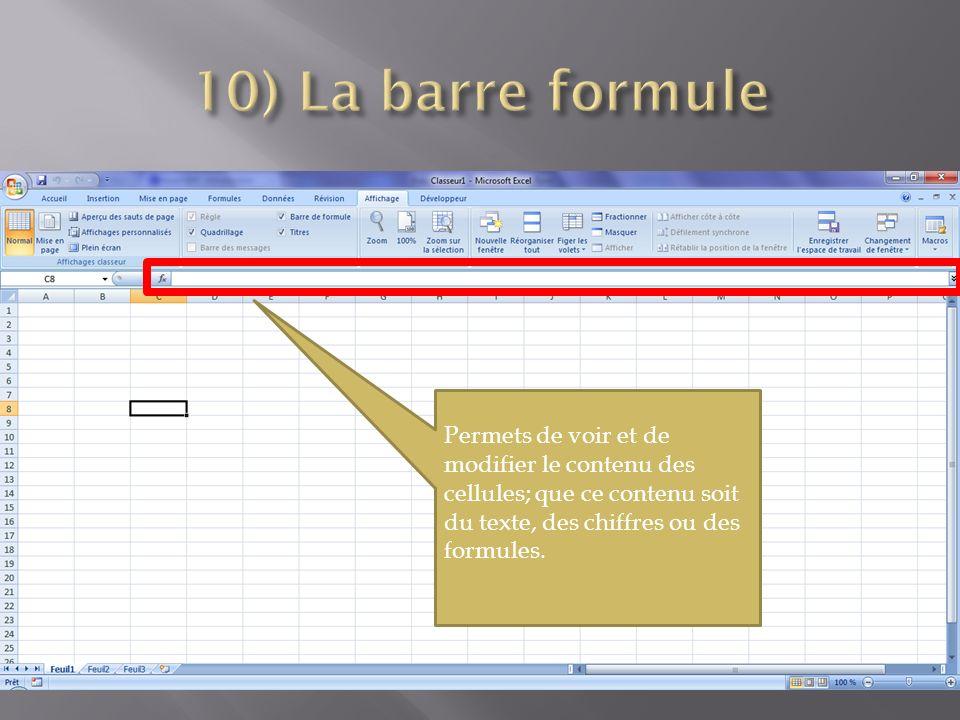 Permets de voir et de modifier le contenu des cellules; que ce contenu soit du texte, des chiffres ou des formules.