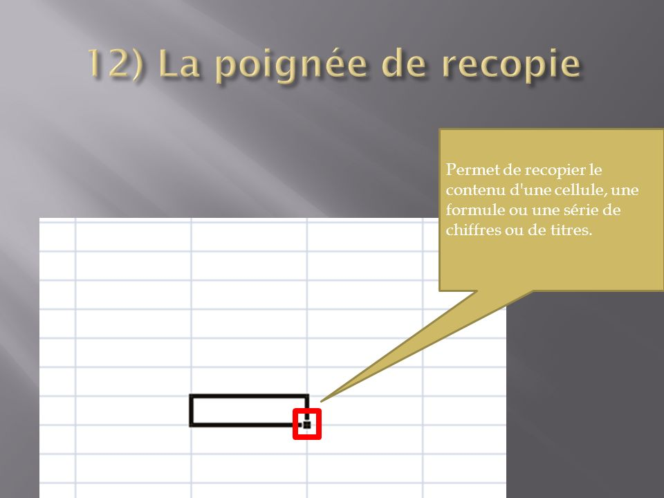 Permet de recopier le contenu d une cellule, une formule ou une série de chiffres ou de titres.