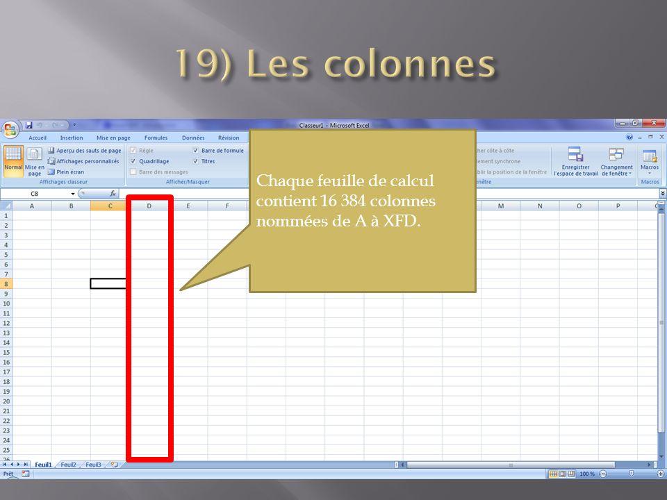 Chaque feuille de calcul contient 16 384 colonnes nommées de A à XFD.