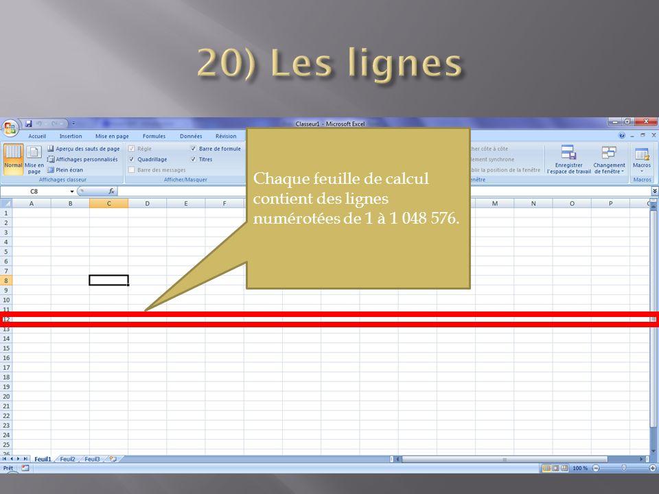 Chaque feuille de calcul contient des lignes numérotées de 1 à 1 048 576.