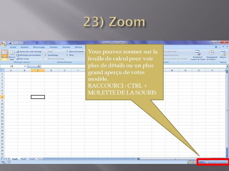 Vous pouvez zoomer sur la feuille de calcul pour voir plus de détails ou un plus grand aperçu de votre modèle.