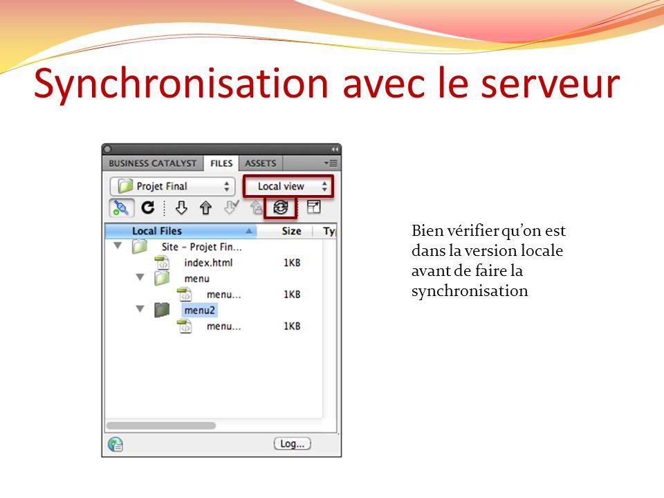 Synchronisation avec le serveur Bien vérifier quon est dans la version locale avant de faire la synchronisation