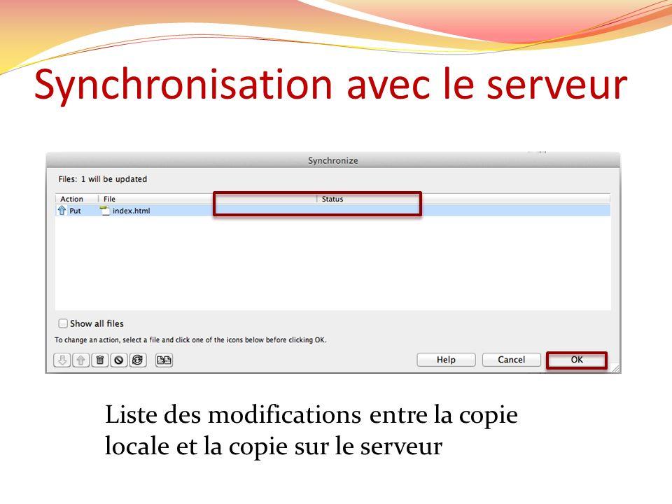 Synchronisation avec le serveur Liste des modifications entre la copie locale et la copie sur le serveur