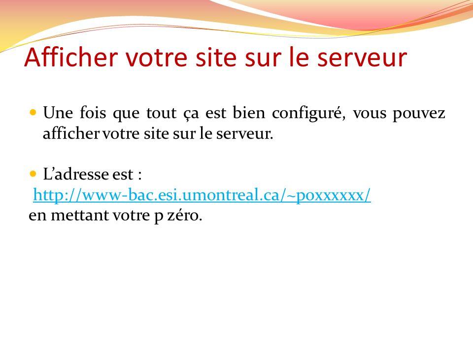 Afficher votre site sur le serveur Une fois que tout ça est bien configuré, vous pouvez afficher votre site sur le serveur.