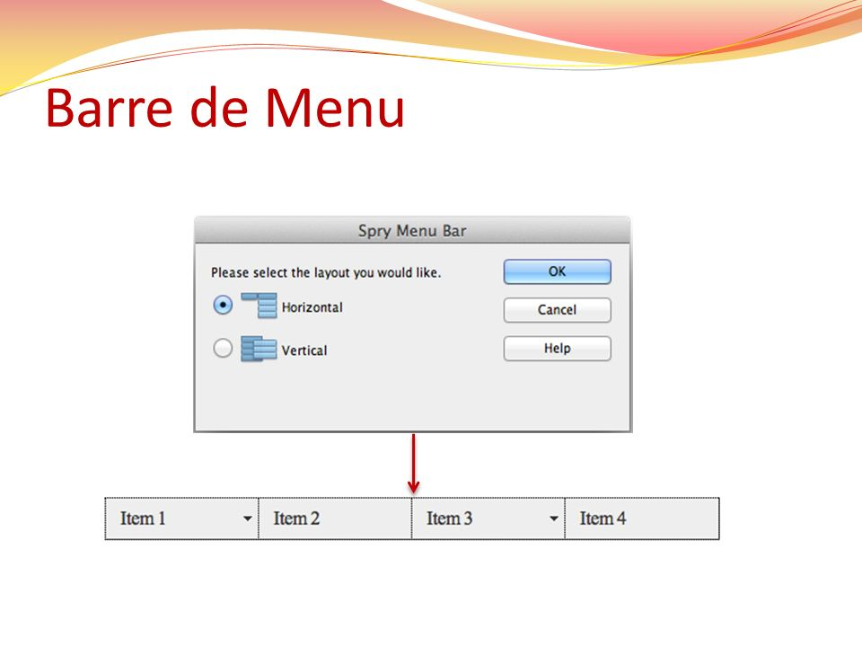 Barre de Menu