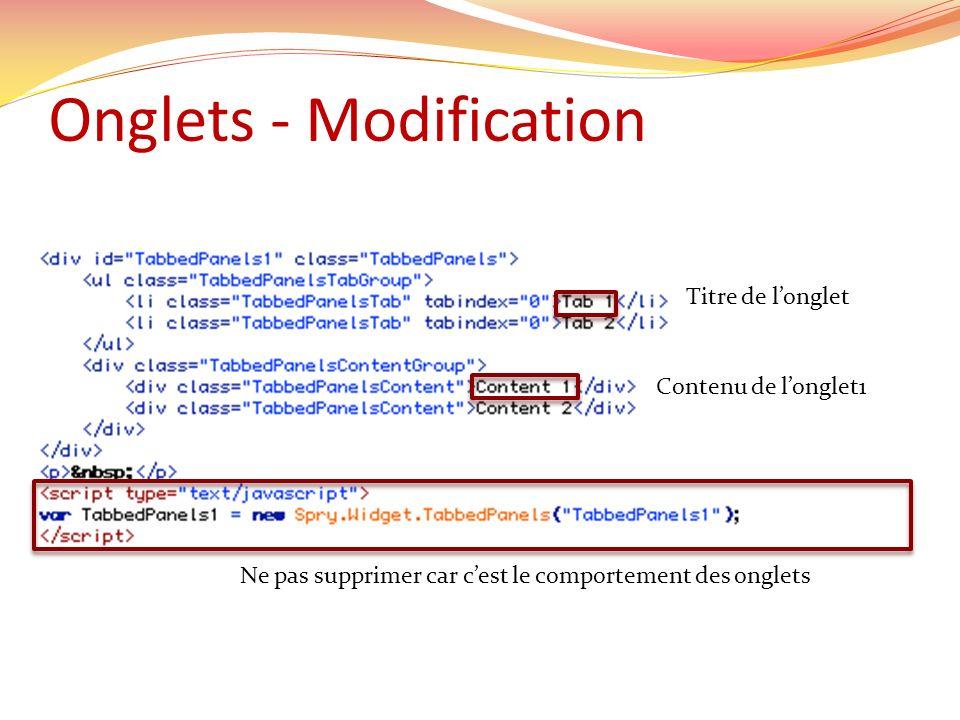 Onglets - Modification Titre de longlet Contenu de longlet1 Ne pas supprimer car cest le comportement des onglets